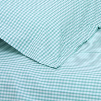 SINGLE DUVET COVER SET in Turquoise Gingham Design